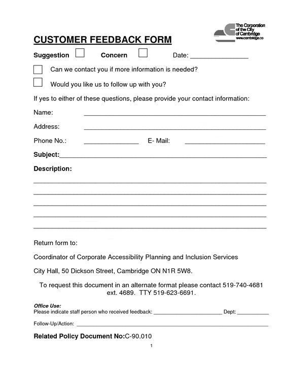 Customer Contact Form | CUSTOMER FEEDBACK FORM (PDF download) *Was ...