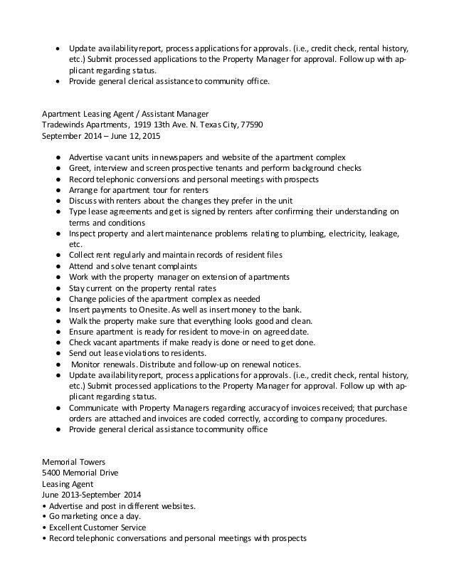 apartment leasing agent cover letter apartment leasing consultant ...