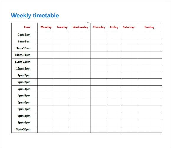 Sample Timetable - 8+ Documents in PDF, Excel