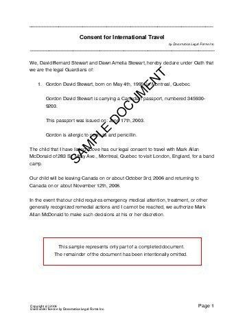 Child Travel Consent (Canada) - Legal Templates - Agreements ...