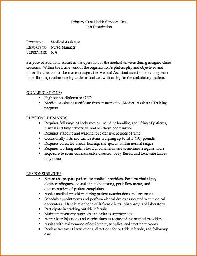 8+ medical assistant job description resume | bibliography format