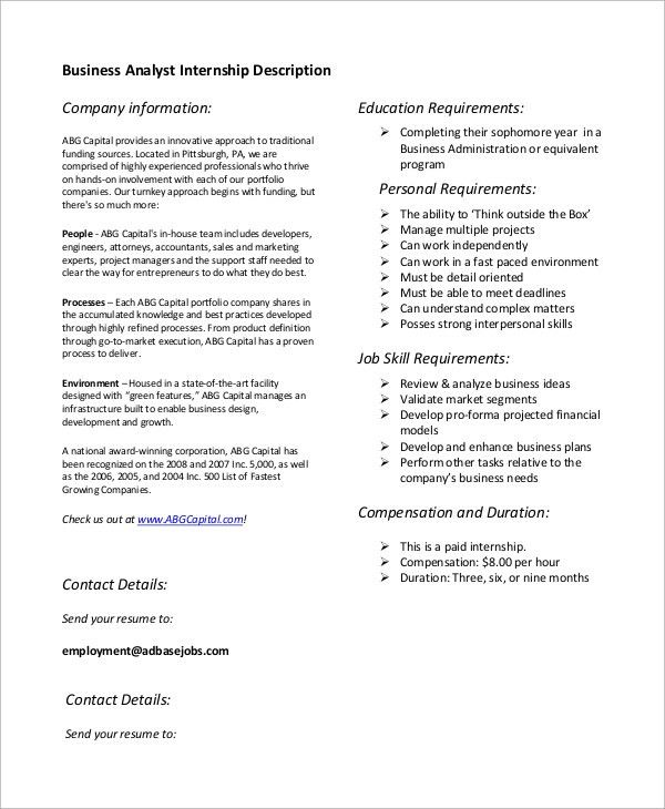 Elegant Sample Business Analyst Job Description   7+ Examples In PDF Pictures