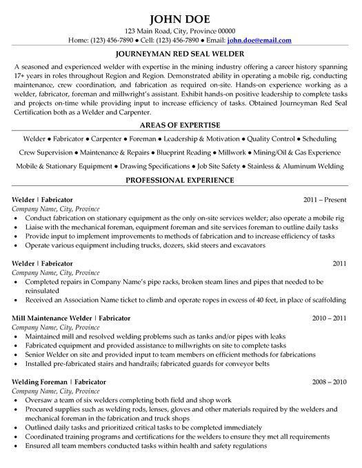 14 best Resume images on Pinterest | Sample resume, Welding and ...