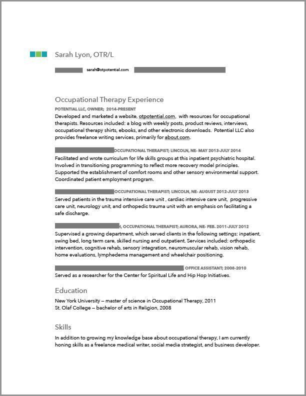occupational therapy sample resume unforgettable occupational