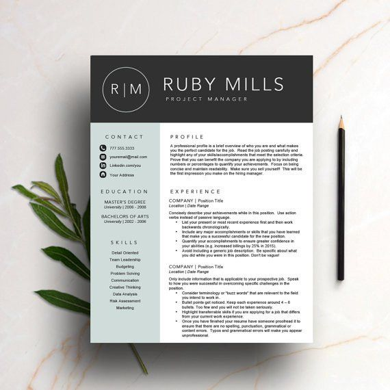 Creative Resume Template for Word & Pages 1 and 2 page