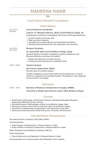 Clinical Research Coordinator Resume | The Best Resume