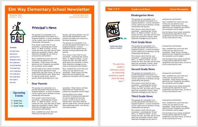 Educational Newsletter Templates. learning center elementary ...