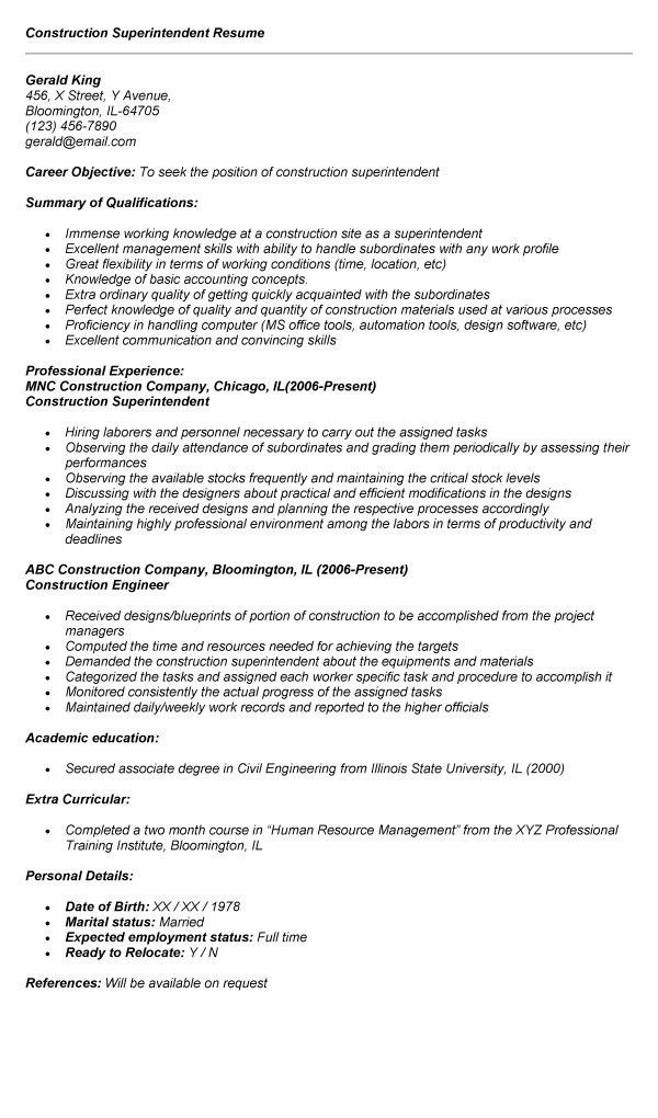 Resume Sample 20 Construction Superintendent Resume Career Resumes ...