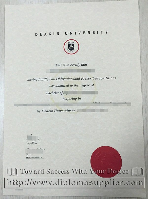 Deakin University degree certificate, Deakin University diploma ...