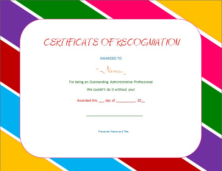 Certificate of Recognition | Soft - Templates