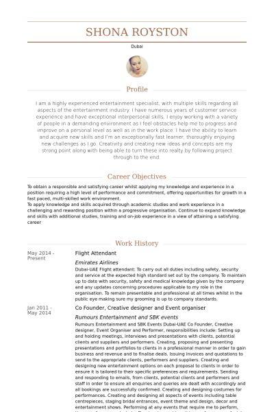 Flight Attendant Resume samples - VisualCV resume samples database