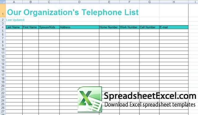 excel spreadsheet contact list template - Template