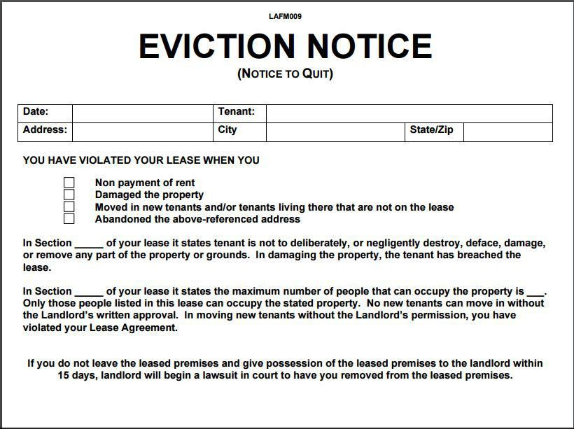 Notice To Quit Template. Nonpayment Of Rent Eviction Notice Sample ...