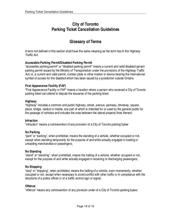 City of Toronto-Parking Ticket Rules & Regulations