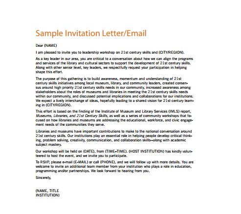 Invitation Letter For Event - Writing Professional Letters