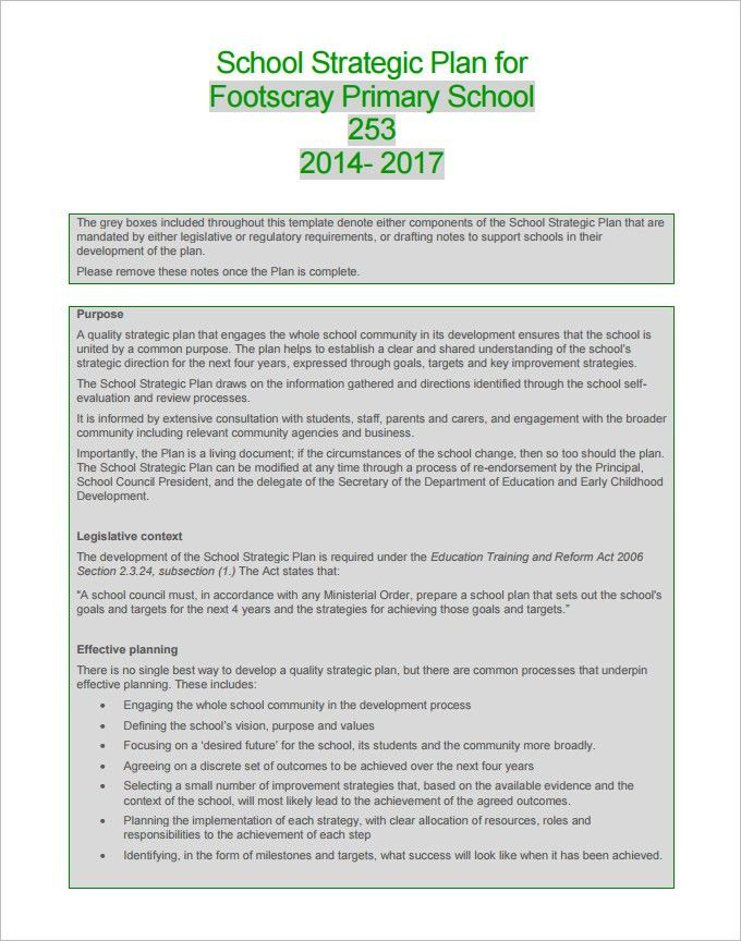 3+ School Strategic Plan Template - Free Word, PDF Documents ...