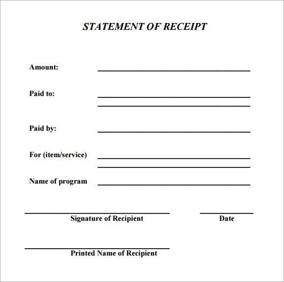 Payment Receipt Form Sample Payment Receipt Forms 8 Free – Free Printable Receipts for Services