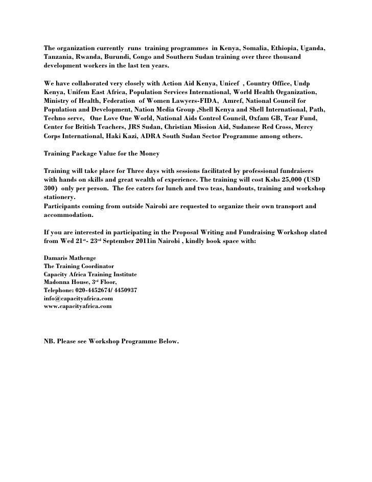 Proposal writing and fundraising workshop invitation in nairobi
