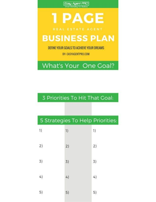 One Page Real Estate Business Plan Template