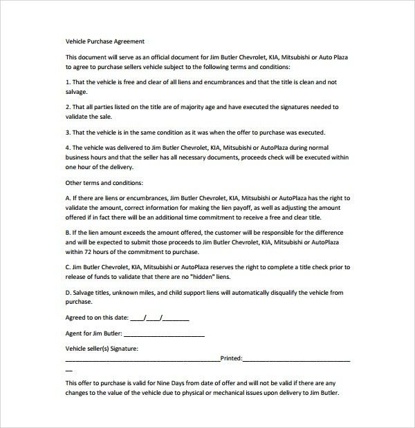 High Quality Vehicle Or Auto Purchase Agreement Letter Template ...