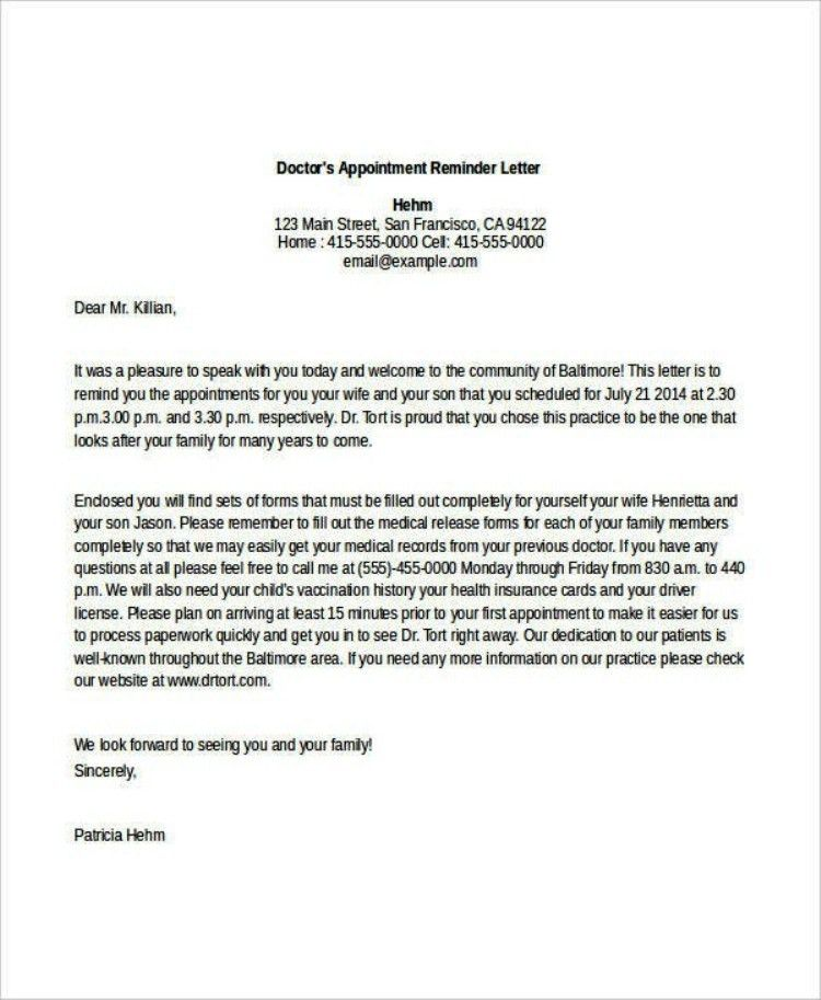 Example Doctor's Appointment Reminder Letter Template | TemplateZet