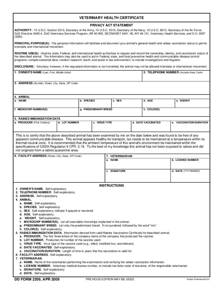 Veterinary Health Certificate Free Download