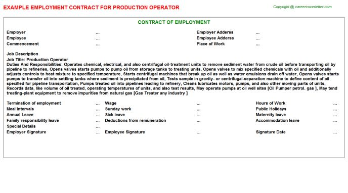 Production Operator Job Title Docs
