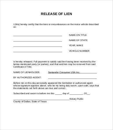 Lien Release Forms. Construction Lien Release Form Example Sample .