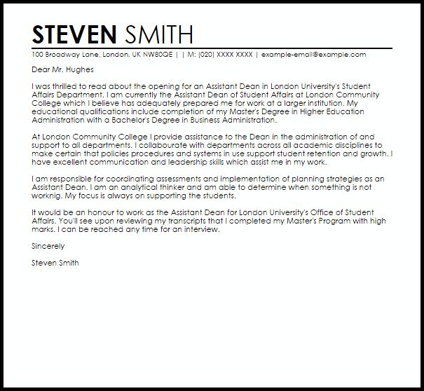 dean cover letter