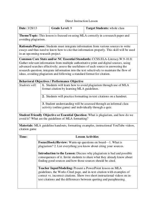 MLA Citation Lesson Plan