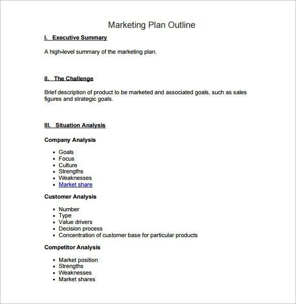 Lovely Marketing Plan Outline Template | Template Idea