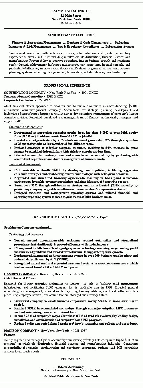 cfo resume vp resume executive cfo resume examples testimonials ...
