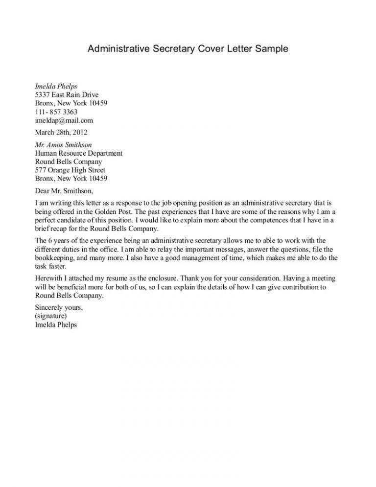 Crafty Design Ideas Secretary Cover Letter 7 Example - CV Resume Ideas