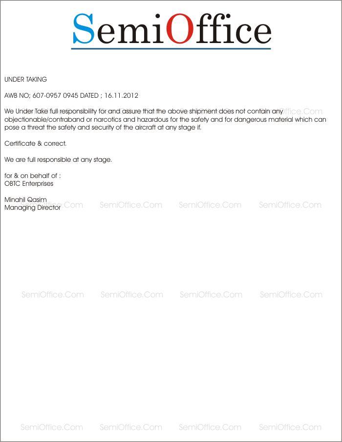 Undertaking Letter Format Construction. Undertaking Letter Format for Shipping Sample  Of Indemnification Director