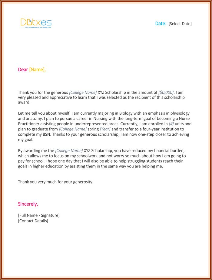 Scholarship Thank You Letter - 7+ Sample Templates you should send