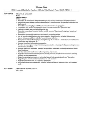Financial Analyst Resume Sample | Velvet Jobs