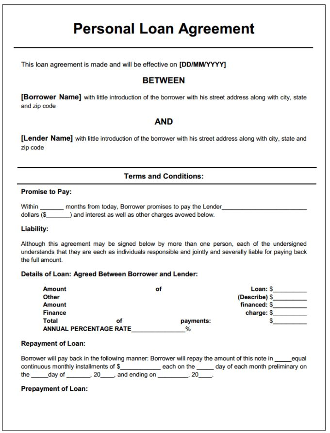 Free Download Personal Loan Agreement Form Generic : Vlcpeque