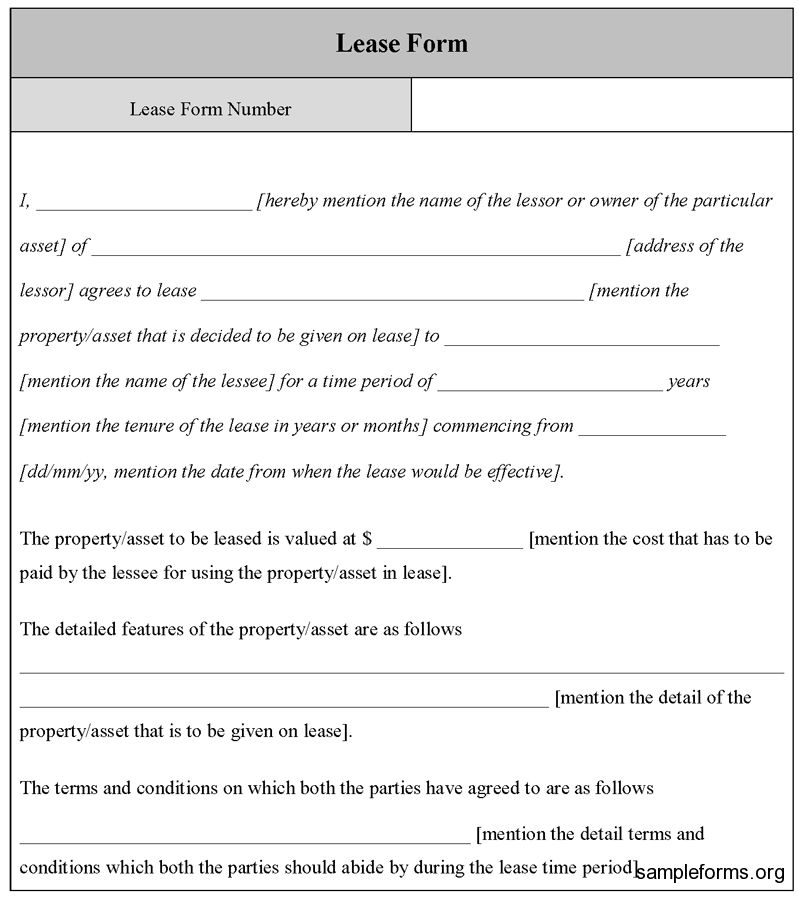 Lease Form Template, Sample Lease Form Template | Sample Forms