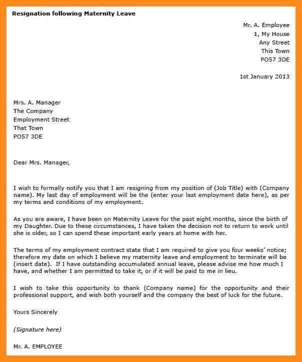 Leave Letter Samples. Sample Of Maternity Leave Letter 148160-425 ...