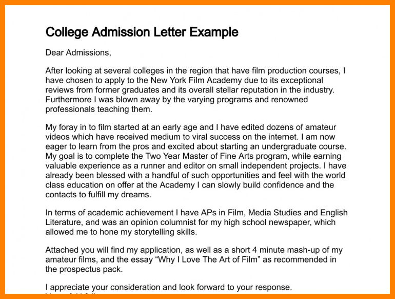 6+ example of application letter for college | buyer resume