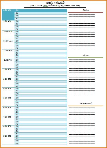 5+ day schedule template | teknoswitch