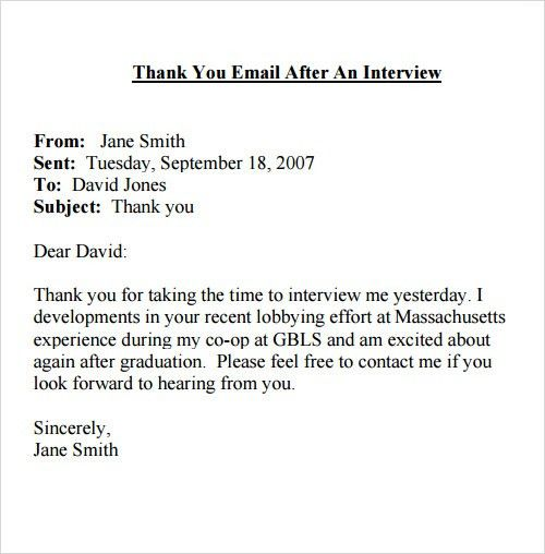 Sample Thank You Email. Thank You Letter After Job Interview - 15+ ...