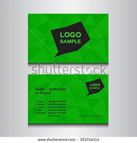 Modern Black Green Business Card Template Stock Vector 614484206 ...