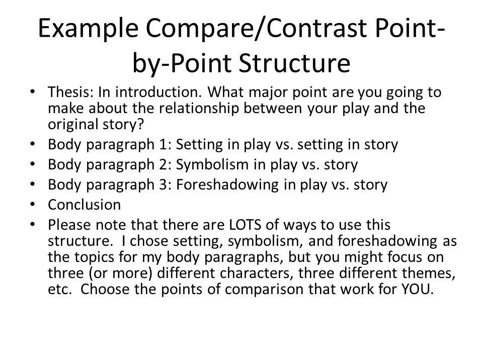 Adapting Fiction Into Drama Essay 1, Compare/Contrast Structure ...