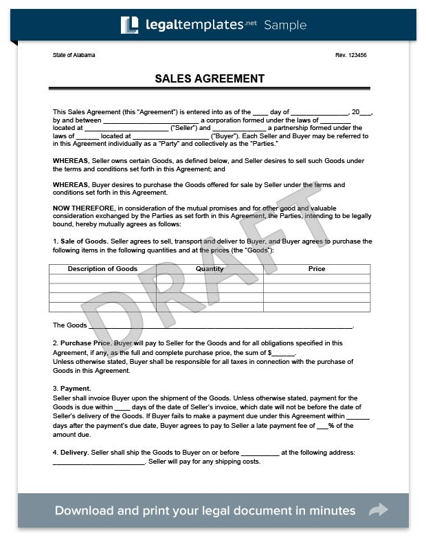 Sales Agreement - Create a Free Sales Agreement Form