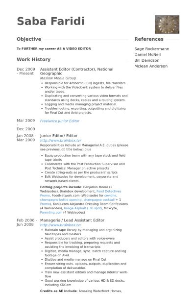 Assistant Editor Resume samples - VisualCV resume samples database