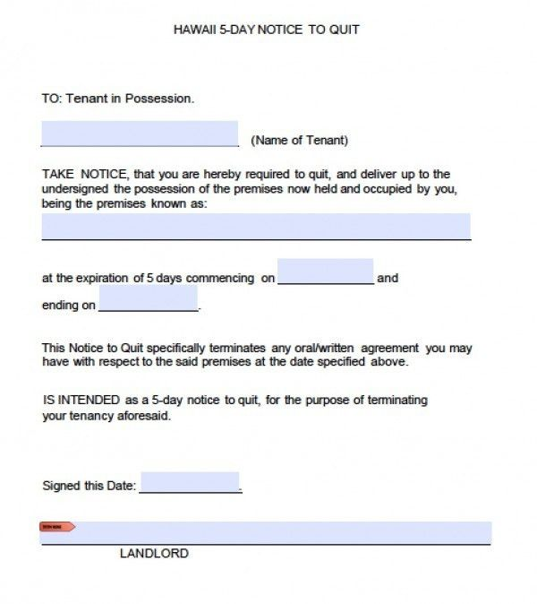 Free Hawaii Five (5) Day Notice to Quit | Eviction Form | PDF ...