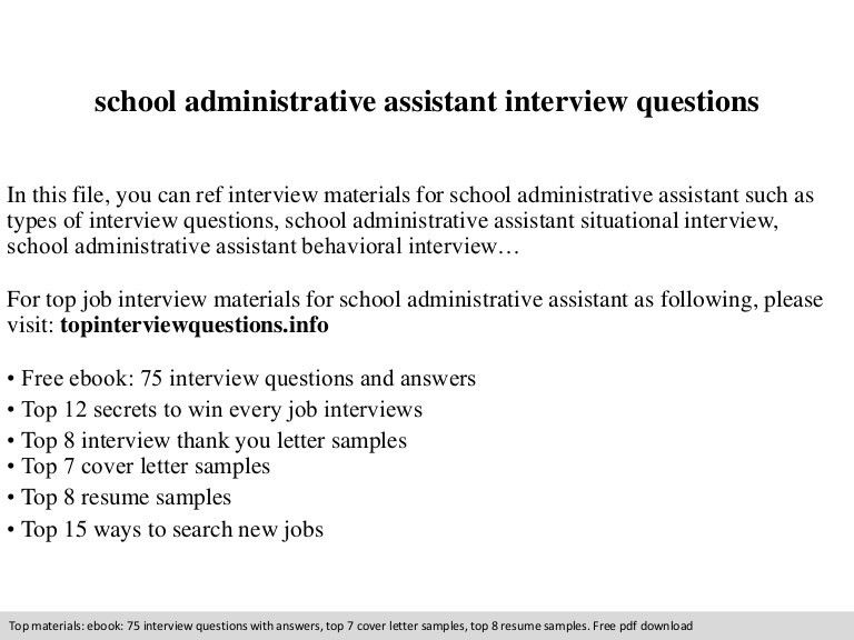 School administrative assistant interview questions