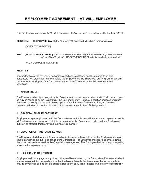 Employment Agreement Key Employee - Template & Sample Form ...