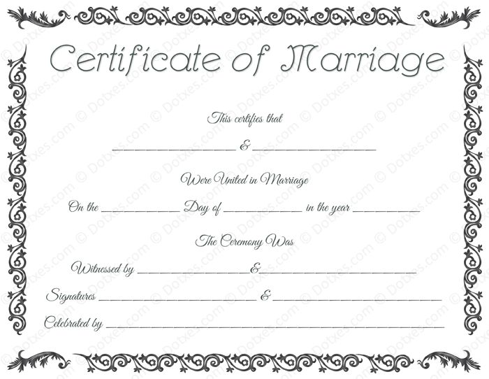 Free Printable Marriage Certificate Template, Royal Wedding ...